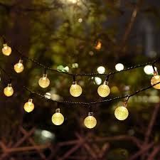 Solar Powered Outdoor Fairy Lights by Globe String Lights Cmyk 20 Ft 30 Crystal Balls Waterproof Led