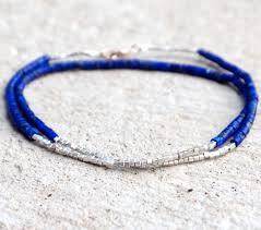 bead bracelet design images Lapis bracelet cobalt blue convertible necklace tiny silver jpg