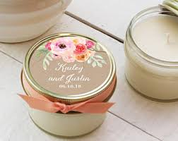 wedding favor candles set of 6 4 oz soy candle wedding favors label design