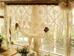Shabby Chic Balloon Curtains by Shabby French Rustic Chic Balloon Burlap Lace Kitchen Window