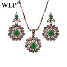 opal earring necklace set images Wlp spring 2018 stylish vintage jewelry sets green opal earrings jpg