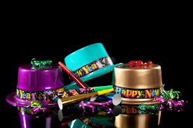 new year s noisemakers new years hat and noisemakers on black stock photo image of