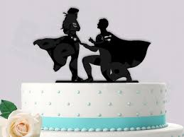 themed wedding cake toppers superman proposing to woman event wedding cake