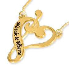 Gold Plated Name Necklace Gold Plated Music Notes Heart English Hebrew Name Necklace Up