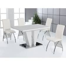 Glass Dining Table And Chairs Dining Room Simple White Round Table 4 Legs Glass With Leather