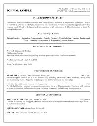 Entry Level Resume No Experience Phlebotomist Resume No Experience Free Resume Example And