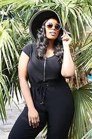 fashion womens deep v neck high waist wide leg plus size jumpsuit