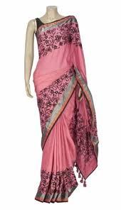 arong saree saree pink kantha embroidered tassor silk saree online shopping