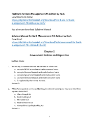 test bank solution bank management 7th edition by koch savings
