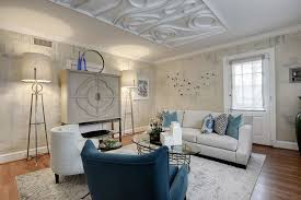 Club Chairs For Living Room Contemporary Living Room With Wallpaper U0026 Crown Molding In