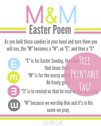 free printable easter m u0026 m poem tags u create