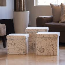 wilman beige fabric double tray storage ottoman best furniture