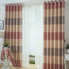 Pink Striped Curtains Thcik Linen Cotton Pink Beige Brown Striped Curtains