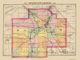 Michigan Counties Map Old County Map Saginaw Michigan 1873