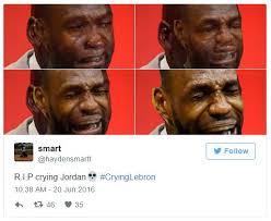 Lebron Crying Meme - hardensmartt tweet crying michael jordan crying lebron know your
