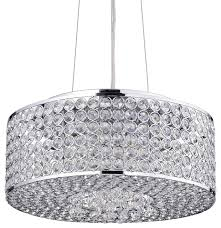 All Crystal Chandelier Round Drum Crystal Shade Chandelier Chrome Contemporary