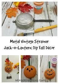 Homemade Fall Decor - metal vintage strainer jack o lantern diy fall décor mixed