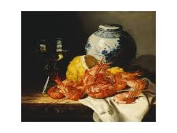 white ginger jar l shrimps a peeled lemon a glass of wine and a blue and white ginger