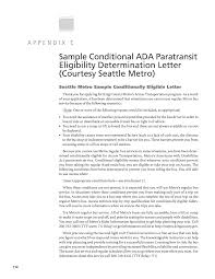 Disability Appeal Letter Appendix C Sample Conditional Ada Paratransit Eligibility
