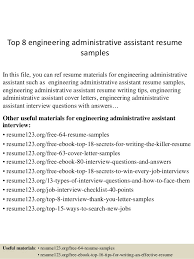 Resume Examples For Administrative Assistant by Top 8 Engineering Administrative Assistant Resume Samples 1 638 Jpg Cb U003d1432909847
