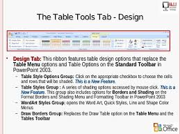 table tools design tab 2003 2007 power point differences