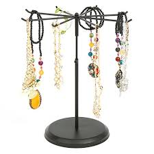 necklace jewelry display stand images Black metal rotating 8 hook necklace bracelet organizer jpg
