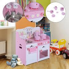 kinderk che holz rosa homcom kinderküche spielküche spielzeugküche real