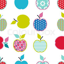 baby and pattern with apples vector background