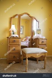 Makeup Dresser Young Female Bedroom Furniture Pretty Makeup Stock Photo 3691232
