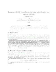 balancing a double inverted pendulum using optimal control and