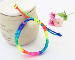 bracelet braid images Rainbow color friendship bracelets for women weave braid strand jpg