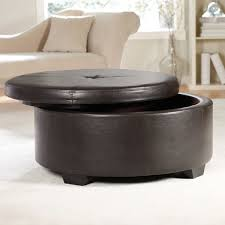 Ottoman With Shelf Coffe Table Round Leather Ottoman Coffee Table White L Dark