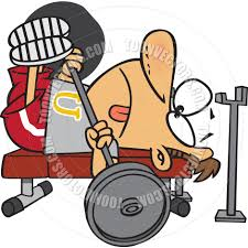 cartoon man bench press by ron leishman toon vectors eps 66555