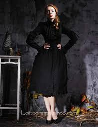 black stand collar long sleeves empire tea length gothic