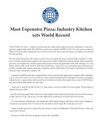 most expensive pizza industry kitchen sets world record