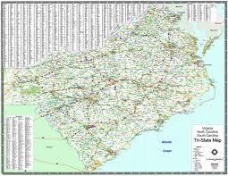 Virginia North Carolina Map by Tri State Wall Map