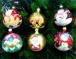handbemalte weihnachtskugeln aus geblasenem glas 6 stück