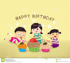 happy birthday card with kids and cupcakes stock vector image