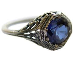 vintage sterling rings images Vintage octagonal floral blue sapphire cz ring in sterling silver jpg