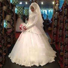 find long sleeve lace tiered muslim hijab wedding dresses high