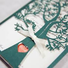 tree wedding invitations fresh green tree laser cut wedding invitations with ivory band