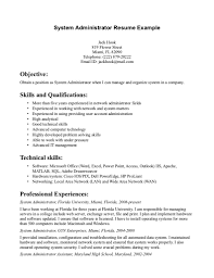 Sample Admin Resume by System Administrator Resume Examples Resume For Your Job Application