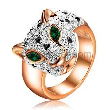 unique fashion rings images Unique gold plated engraved panther leopard fashion ring for women jpg
