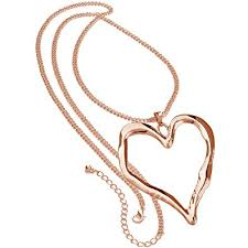 long rose gold necklace images Ladies rose gold long chain very large chunky heart pendant jpg