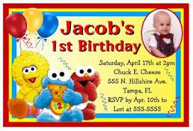 baby sesame street elmo birthday party invitations w photo ebay