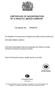 exhibit 2 organic names certificate of incorporation and articles