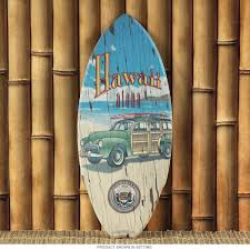hawaii state seal vintage woody mini surfboard surfboards tiki