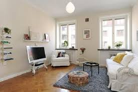 Mini Apartment Living Room Design Small Apartment Living Room Comfy Beige Fabric Bed
