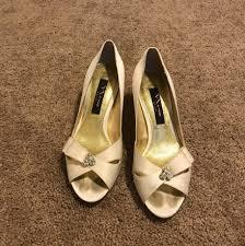 wedding shoes peep toe shoes peep toe embellished heel wedding shoes on tradesy