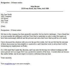 resignation letter with 24 hours notice resignation letter examples